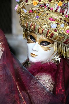 Floriimonde With Her Veil.  Carnivale in Venezia.  Venice, Italy. by Donna Corless.