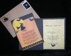 Halloween is right around the corner. Are you thinking of hosting a Halloween party this year? If so, you will need to send out some spooky invitations. Here are some creative ways to decorate/make Halloween invitations that will be sure to haunt your. Halloween Cards, Spooky Halloween, Halloween Treats, Halloween Decorations, Card Making Tips, Halloween Party Invitations, Cool Websites, Unique, Holidays