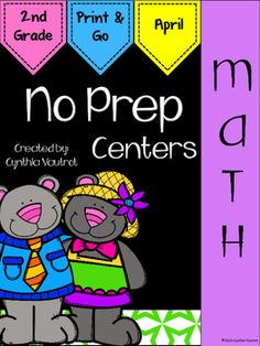 NO PREP!  Math Centers: 2nd Grade:  April : NO PREP Math Centers for April is a unit full of hands-on, engaging, fun math activities that are ready to PRINT & GO!No Prep Math centers will keep your students engaged and enjoying learning while making sure they are getting the necessary math skills as they complete spiral reviews of concepts each month throughout the year.