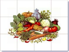 Vegetables Designs on Ceramic Tiles
