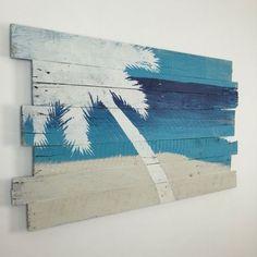 Beach Decor Palm Tree on Sky Sea and Sand by WoodburyCreek on Etsy