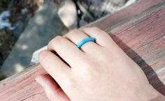 Turquoise Ring Band Carved Stone Free Shipping by BrianaJoelle