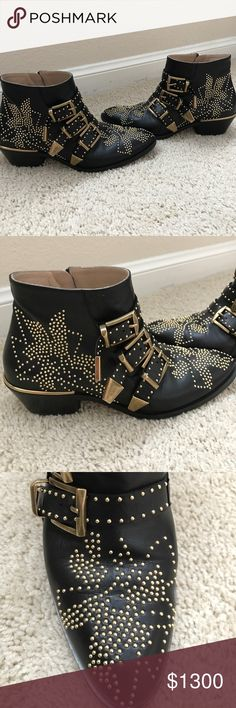 Chloe Susanna Bootie size 37 100% authentic Chloe Susanna studded booties in good condition. Normal wear , no missing studs. Purchased in sept 2016. Size 37 women's. no box , just boots bags. These retail for $1380 pre tax Chloe Shoes Ankle Boots & Booties