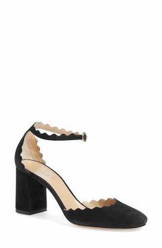 Chloé Scalloped Ankle Strap d'Orsay Pump (Women)