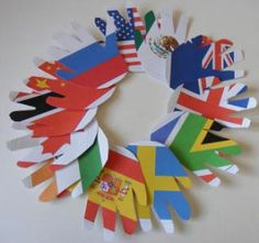 flag crafts for World Thinking Day - cute with all girls handprints together