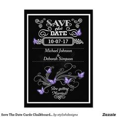 Save The Date Cards Chalkboard Purple Butterflies Wedding Save The Date cards which are a popular vintage chalkboard design with purple butterflies