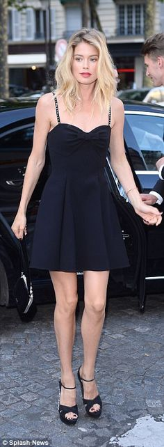 Classic: Other guests played things a little more safe, with supermodel Doutzen Kroes keeping her look classic in an LBD