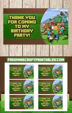 Free Minecraft Printables: Free Printable Minecraft Goody Bag Tags