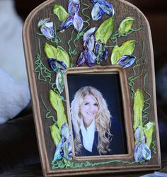 """Barbara Scharpf Originals"" Picture frame: Such a wonderful piece of art/design .Painted on barn wood, just perfect to make a lovely custom gift. #art #design #wood #woodcraft #picture #photo #frame #furniture #colorful #love #passion #flowers #style #beautiful #elegant, #barnwood, #gift, #flowers"
