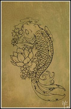 "Koi fish are the domesticated variety of common carp. Actually, the word ""koi"" comes from the Japanese word that means ""carp"". Outdoor koi ponds are relaxing. Tattoo Sketches, Tattoo Drawings, Body Art Tattoos, New Tattoos, Fish Tattoos, Cool Tattoos, Tatoos, Fish Drawings, Gorgeous Tattoos"