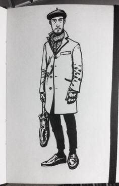 Mens fashion sketch, random internet dude looking all French.