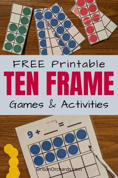 Ten frames are a fantastic teaching tool! Get your free printable ten frames and fun activities and games to play with a ten frame right here! Kindergarten Math Worksheets, Homeschool Kindergarten, Math Math, Homeschooling Resources, Math Fractions, Guided Math, Kindergarten Classroom, Maths, Ten Frame Activities