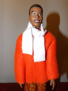 Bright solid orange Fleece coat & white scarf for male fashion