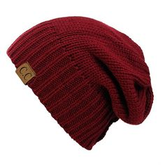 NYfashion101 Exclusive Two Way Cuff Slouch Warm Knit Ribbed Beanie ($9.99) ❤ liked on Polyvore featuring accessories, hats, beanie, red, slouchy hat, slouchy knit hat, slouchy beanie, knit beanie and red knit beanie