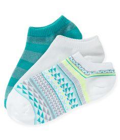 3-Pack Geo, Aero & Stripe Ped Socks - Aeropostale