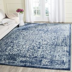 Safavieh Evoke Navy/ Ivory Rug (8' x 10') | Overstock.com Shopping - The Best…
