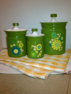 Late 1960's Retro green flower power canisters