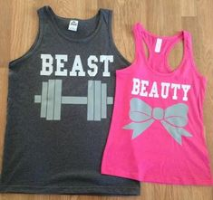 Beauty The Beast couples shirts comes with matching his and her T-Shirts. T-Shirt Men/Unisex - red, white, black, royal blue, charcoal. Fit Couples, Matching Couples, Happy Couples, Workout Wear, Workout Shirts, Tank Top Shirt, Tank Tops, Couple Shirts, Cute Outfits