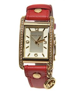 Michael Kors MK2380 Red Leather Band Charm Women's Watch with Crystals - Jewelry For Her