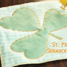 Shamrock Placemats - Use the template of a shamrock to create a placemat that will keep your table clean while adding a fun, festive look to your meal.