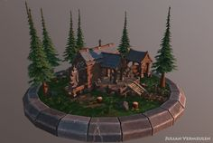 Lumber Mill Diorama, Julian Vermeulen on ArtStation at https://www.artstation.com/artwork/P2Xyo