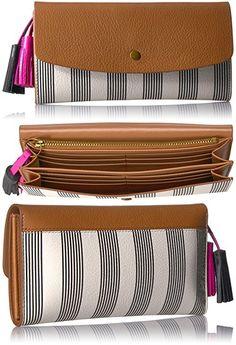 Haven Large Flap Wallet Wallet, Black Stripe, One Size