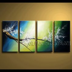 Stunning Contemporary Wall Art Hand-Painted Art Paintings For Bath Room cherry blossom. This 4 panels canvas wall art is hand painted by Bo Yi Art Studio, instock - $139. To see more, visit OilPaintingShops.com