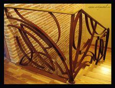 Barandilla de diseño contemporaneo en acero cor-ten y laton