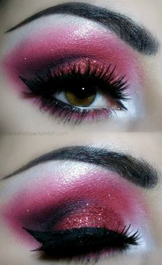 Pink Makeup or Candy Cane. Comment Below! Makeup Drag, Drag Queen Makeup, Pink Makeup, Makeup Tips, Hair Makeup, Barbie Makeup, Makeup Stuff, Pink Eyeshadow, Eyeshadows