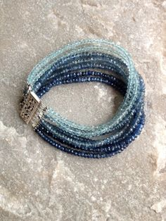 Sapphire and Aquamarine 7 Strand Bracelet  with Sterling Silver Clasp