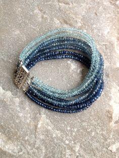 Sapphire and Aquamarine 7 Strand Bracelet  with by DevaAriel, $450.00