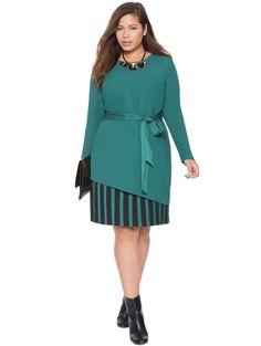 Chiffon Underlay Tie Waist Dress | Women's Plus Size Tops | ELOQUII