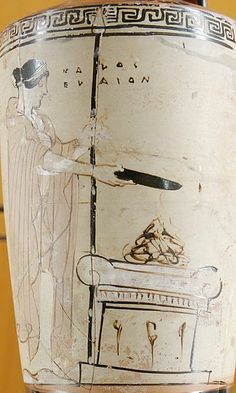 """A goddess, probably Hera, with sceptre and phiale at the altar; inscription """"kalos elaion"""". From an Attic white-ground lekythos, ca. 470 BC."""