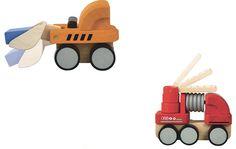 Plan Toys Wooden Bulldozer & Fire Engine 6317 6320