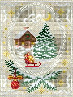 Cross Stitchers Club - winter home with oval frame, stars, pine boughs in snow