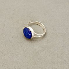 Blue Lapis Lazuli Ring Sterling Silver Split Band Y by BloomingOak