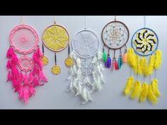 Paper Crafts(Diwali Decoration Ideas): DIY Dream catcher with Multicoloured Lights Disney Diy Crafts, Easy Diy Crafts, Handmade Crafts, Crafts To Make, Five Below, Diy Dream Catcher Tutorial, Wool Wall Hanging, Wall Hangings, Crochet Dreamcatcher