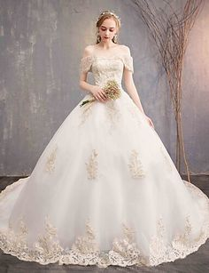 4844e8e20 [$149.99] Ball Gown Off Shoulder Chapel Train Tulle / Lace Over Satin Made -To-Measure Wedding Dresses with Appliques / Lace by LAN TING Express