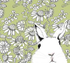 White Rabbit Art   Where's Alice Green Wallpaper  door corelladesign