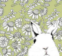 White Rabbit Art   Where's Alice Green Wallpaper  by corelladesign, $20.00