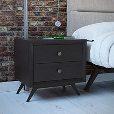 Modway Tracy Mid-Century Modern Wood Nightstand in Black