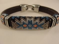Peyote Beadwoven Licorice Leather Bracelet by Calisi on Etsy