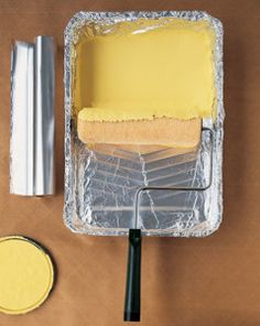 Painting Tip #2  Use foil on your paint tray to save washing up!