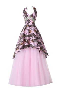 Sunvary pink camouflage mini bridesmaid dresses junior flower girl ivydressing fancy halter hi lo camouflage cocktail dresses long prom gowns 16 pink mightylinksfo