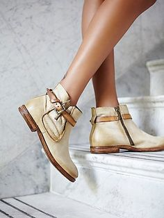 Free People Imperial Distressed Ankle | Rugged and distressed leather ankle boots featuring a textured panel on the side.  Perfect for fall. *A.S.98