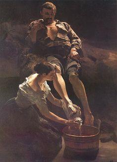 Jacek Malczewski (1854–1929)    Umywanie nóg. (Washing of feet) 1887 oil on canvas Dimensions196 × 140 cm (77.2 × 55.1 in)