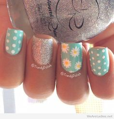 Mint, white and silver glitter nails