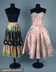 Quilted Cotton Circle Skirt Set, 1950s, Augusta Auctions, April 2006 Vintage Clothing & Textile Auction, Lot 410