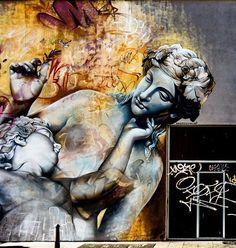 Graffiti Artists Paint Stunning Greek Gods On Shipping Containers - Beautiful giant murals greek gods pichi avo