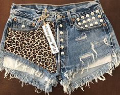 Items similar to LEOPARD High waisted denim cut off shorts super frayed with print and studs size S/M/L/XL on Etsy Grunge Style, Soft Grunge, Diy Shorts, Studded Shorts, Ripped Shorts, Studded Denim, Tokyo Street Fashion, Denim And Lace, Lace Denim Shorts